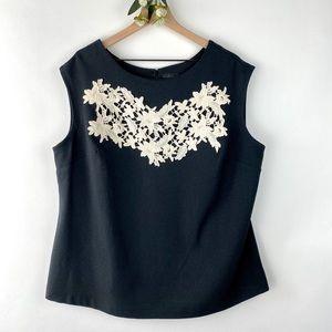 Worthington Sleeveless Black Blouse White Lace 1X